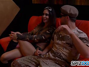Jessica Jaymes and Nina Elle get off with army boy jizz-shotgun
