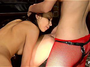 strap-on dominatrix tests her fresh slaves