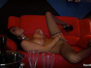 Romi Rain gets crazy on the stripper pillar