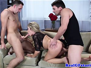 super hot light-haired big-chested milf threeway boink