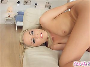 Givemepink glass faux-cock anal invasion pounding