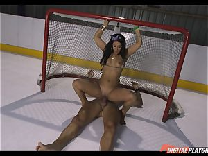 kinky brown-haired Eva Lovia torn up deep in her beaver pie at the ice rink