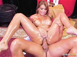 Oiley Mercedes Carrera romped immense time by fat fuck-stick