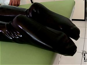 tough ash-blonde in spandex dildoed by the physician
