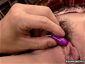 chinese college girl has her spurting pubic hair perversely played