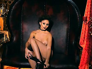 slender puny Ariana Marie gorgeous rubber solo masturbation