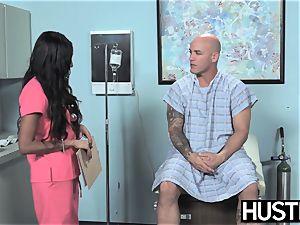 Latina nurse Sadie Santana gets both crevices spread