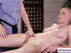 masseuse Giselle Palmer enjoys licking Riley Nixons wet puss in the table