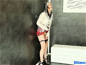 Bukakke college girl stroking at gloryhole