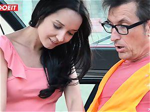 LETSDOEIT - teen plows older fellow For Free Car Repair