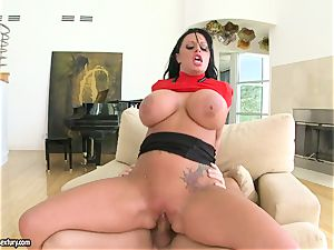 humungous titted Kerry Louise juggles her pussy on a large trouser snake