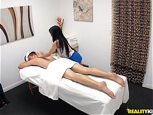 kinky masseuse blows off her patient