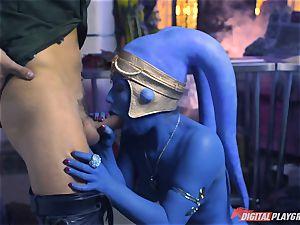 Alien Eva Lovia takes on two hero cocks