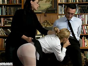 The schoolteacher punishes nubile pupil in the school library
