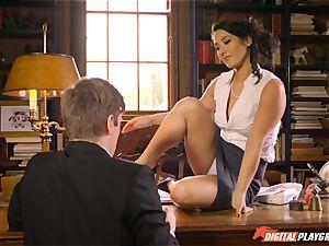 Headmistress Eva Lovia plays with her crazy schoolgirl