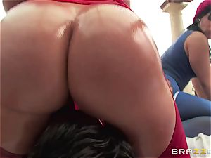 rectal hook-up with 3 super-naughty hefty booty cocksluts Krissy Lynn, Nikki Delano and Rose Monroe