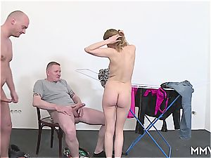 German milf cunt for two lucky workers