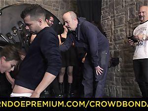 CROWD bondage - extraordinary domination & submission nail wheel with Tina Kay
