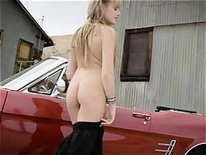 Scarlett Sage strong solo stroking session in car