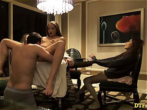 James Deen casts three wonderful stunners to his ample fuck-stick
