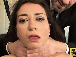 Neck strapped european bondage & discipline victim