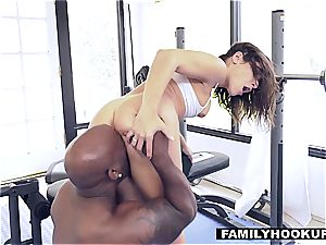 nasty nubile got her puss destroyed by a big black cock after a gym workout