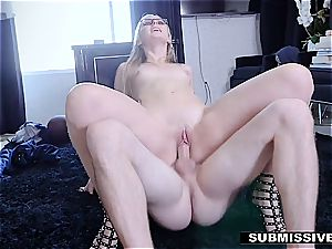 red-hot blond plays a bad gal at the office and gets slapped