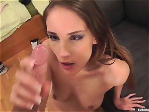 brunette Tina Blade enjoys a muddy cum shot