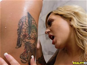 naughty lezzy romp with Brandi Bae and Kenzie Rae with dildos