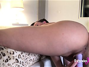 Rahyndee James cream-colored vagina play With faux-cocks