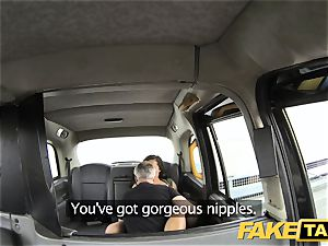 fake taxi chick in rosy undergarments gets creampied