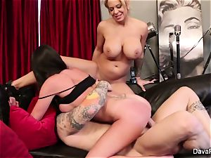 point of view deepthroating and fucking with Dava Foxx and Alyssa Lynn