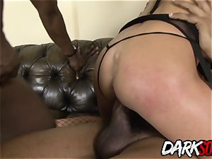milf Cathy Inez takes dark-hued sausage in her caboose and jism on her face