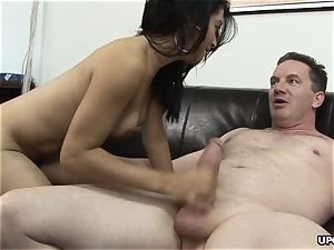 Alluring girl got her furry cooter jammed rock-hard