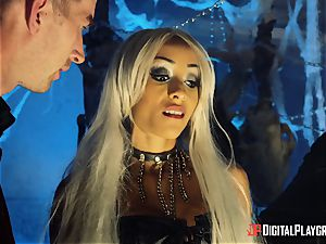 Alyssa Divine takes on 2 immense boners