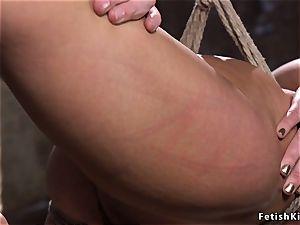 hogtied in back bend dark haired whipped