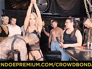 CROWD restrain bondage - Silicone mammories light-haired kinky public romp