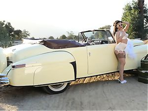 Lana Rhoades antique car puss play