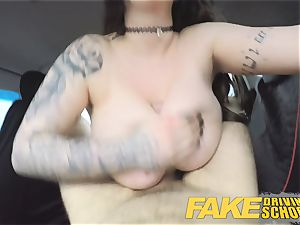 faux Driving school educator gets titwank huge-chested stunner