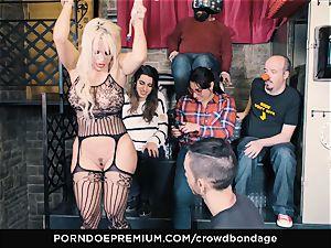 CROWD restrain bondage - subordinated light-haired Fesser raunchy sadism & masochism lovemaking