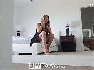 SpyFam Step mother Brett Rossi caresses step sonnie large penis