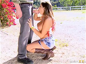 August Ames gets her bumpers creamed outdoors