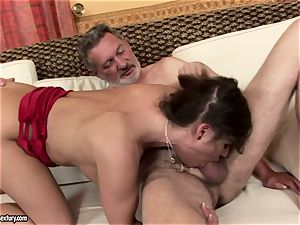 messy nubile Cathy Heaven passionately fellating a massive erect man sausage
