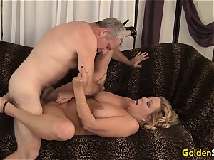grannie takes a meaty wood and spunk in her hatch