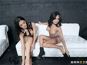 Sophia Leone tonguing out her friend