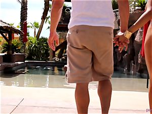 Anissa Kate strip her swimsuit to plumb poolside