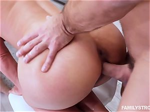 Phoenix Marie gets a molten 3 way at the dinner table