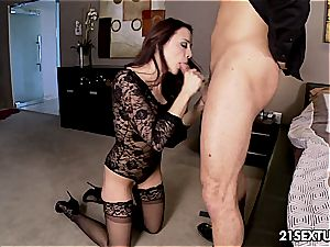 stylish Chanel Preston sates penis with her feet and mouth